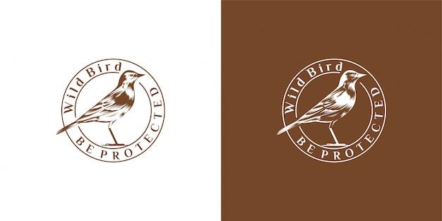 Птица дизайн эмблемы, марочные, печать, значок, логотип вектор шаблон
