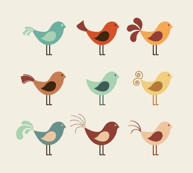 Птица дизайн на бежевом фоне векторные иллюстрации