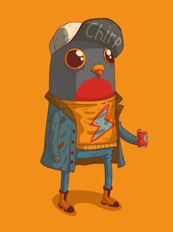 A bird dressed in a raincoat and a cap drinks a drink from a jar