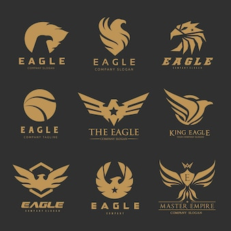 Bird eagle phoenix logo set