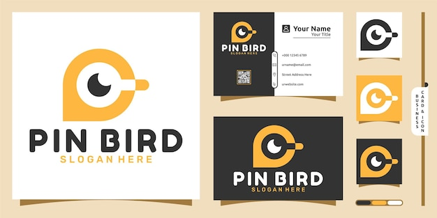 Bird eye logo with pin modern concept and business card design