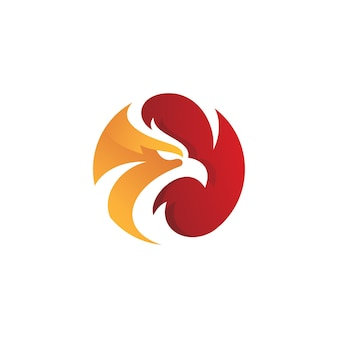 Птица сокол орел или голова феникса логотип вектор значок