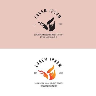 Bird fire hot vintage logo
