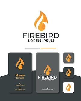 Птица огонь логотип дизайн орел феникс