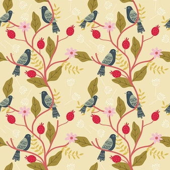 Bird and floral seamless pattern