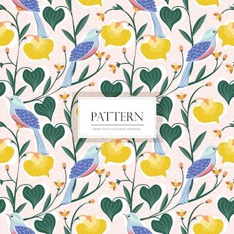 Bird and  flower seamless pattern