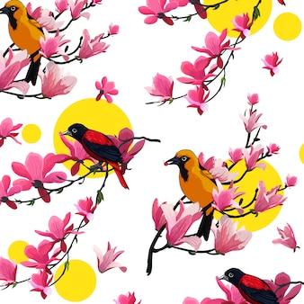 Bird flower vector color template
