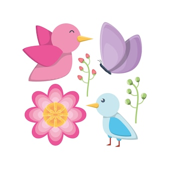 Bird and flowers design