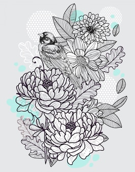 Bird and flowers hand drawing and sketch black and white