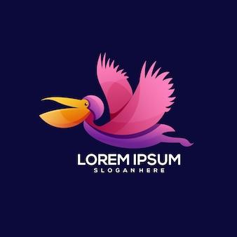 Птица летать логотип красочный градиент иллюстрации