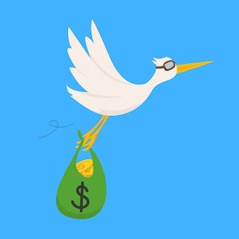 お金で飛んでいる鳥はお金を送るイラスト