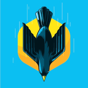 Bird flying with speed illustration