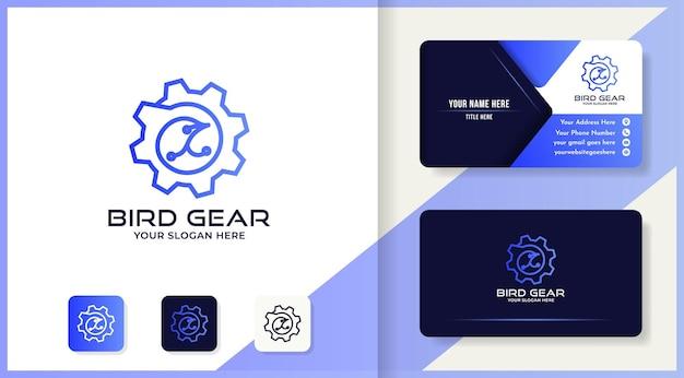 Bird gear logo design use mono line concept and business card