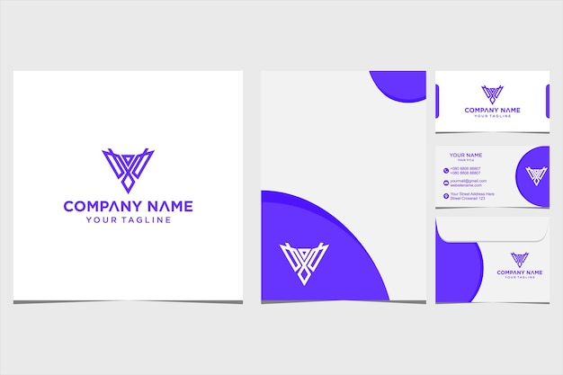 会社と名刺の封筒とレターヘッドプレミアムベクトルプレミアムベクトルのbird幾何学的なロゴデザインのインスピレーション