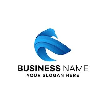 Шаблон логотипа градиент птицы