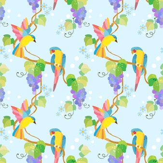 Bird on grape branch seamless pattern.