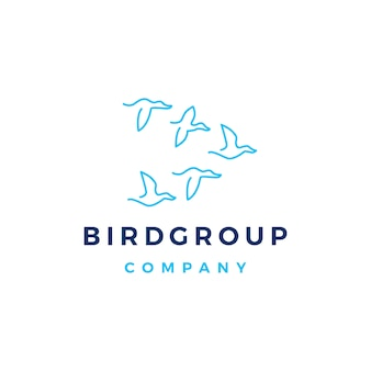 Bird group colony logo vector icon illustration