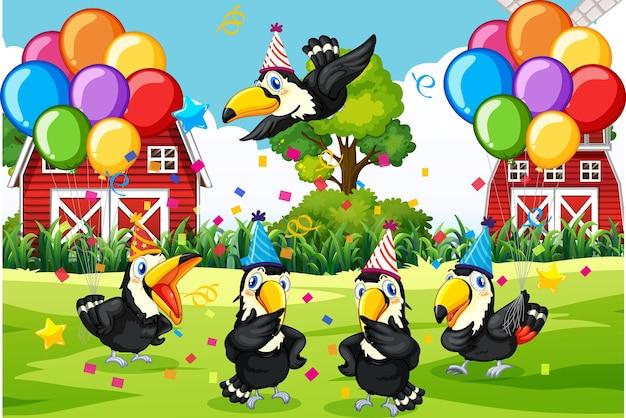 農場の背景にパーティーテーマの漫画のキャラクターの鳥グループ