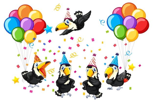 分離されたパーティーテーマの鳥グループ