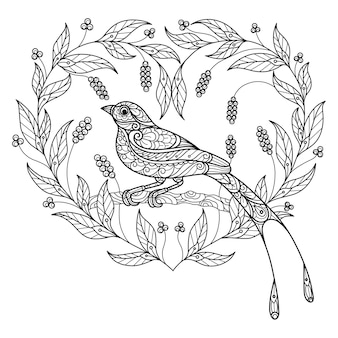 Bird and heart hand drawn sketch illustration for adult coloring book