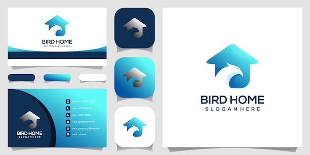 鳥の家のロゴのデザインテンプレート。名刺デザイン