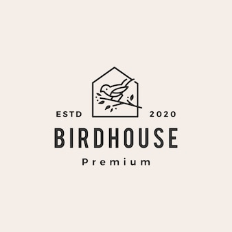 Bird house hipster vintage logo icon illustration