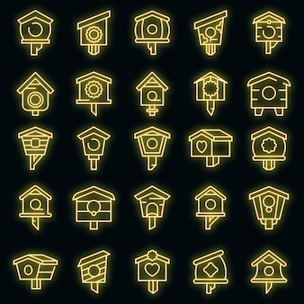Bird house icons set. outline set of bird house vector icons neoncolor on black
