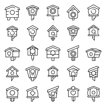 Bird house icons set, outline style