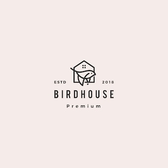 Bird house logo hipster retro vintage  icon illustration