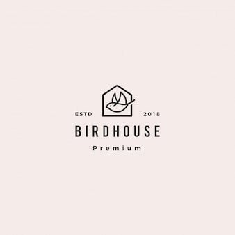 Bird house logo hipster retro vintage