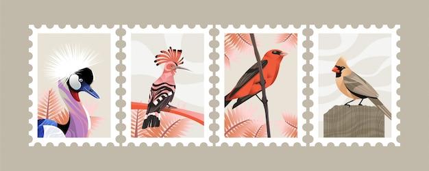 Bird illustration postage stamp