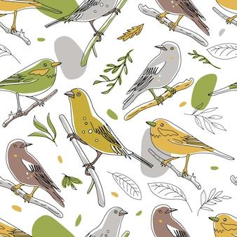 Птица иллюстрации бесшовные модели. коллекция милых рисованной птиц каракулей. стиль линии в минимализме на белом векторном изображении