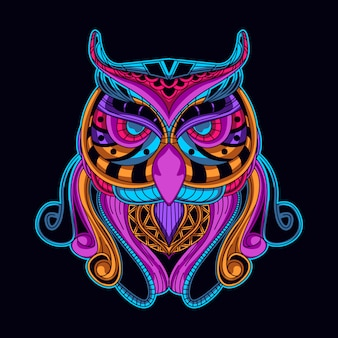 Птица в неоновом цветном стиле