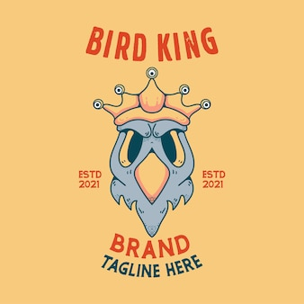 Tシャツの鳥の王の頭蓋骨のハロウィーンのキャラクターのビンテージスタイル
