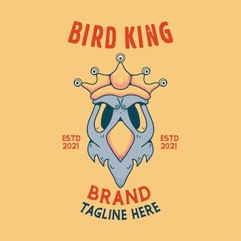 Uccello re teschio personaggio di halloween in stile vintage per t-shirt