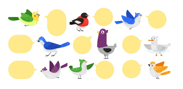 Bird label set.  cute twitting bird animal Premium Vector