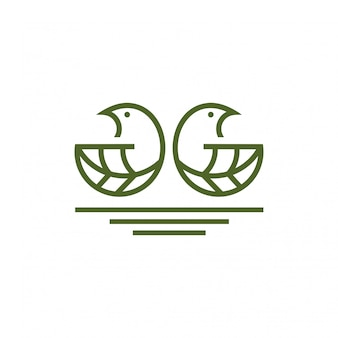 Bird leaf logo concept. Creative unusual logo with unique selling point.