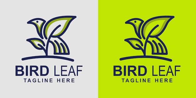 鳥の葉のロゴのデザインテンプレート