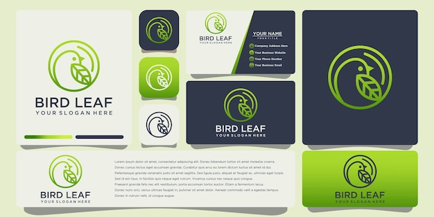 Bird leaf logo design with business card template vector