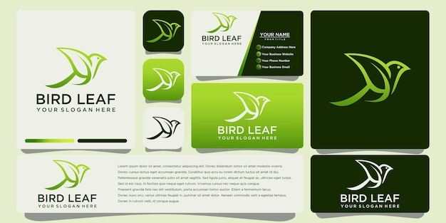 Bird leaf logo design with business card template