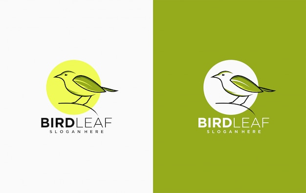 Bird leaf logo icon template