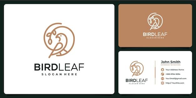 名刺デザインの鳥の葉モノラインロゴ