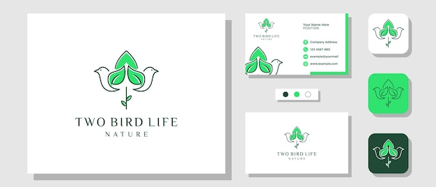 Bird leaf nature green flower tulip illustration logo design with layout template business card