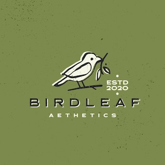 Bird leaf vintage aesthetic ink stroke logo  icon illustration