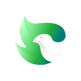 Bird leaves modern logo