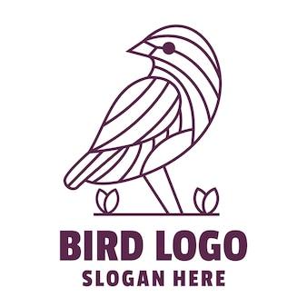 Bird line art logo vector