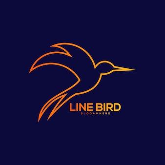 Винтажная иллюстрация дизайна линии птицы