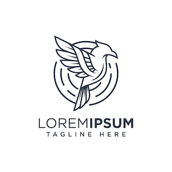 Bird line logo template ilustration icon