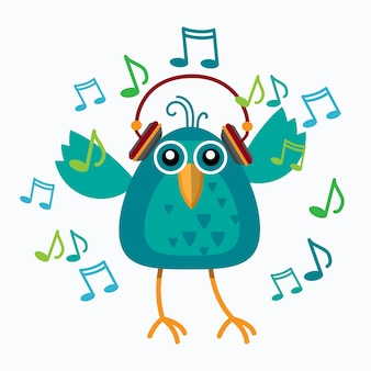 Bird listen music wear headphones dancing notes