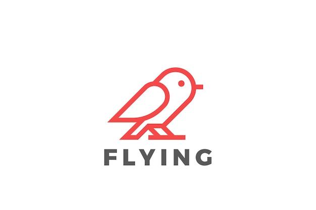 새 로고 추상적 인 디자인. 선형 스타일. 비둘기 참새 앉아 로고